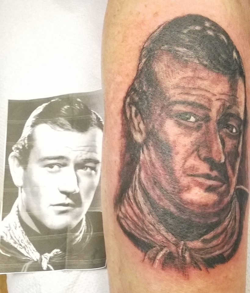 Tattoo, John Wayne, Black & Grey, Portrait