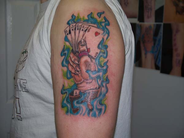 Tattoo, Colour, Hand, Cards, Poker, Vibrant