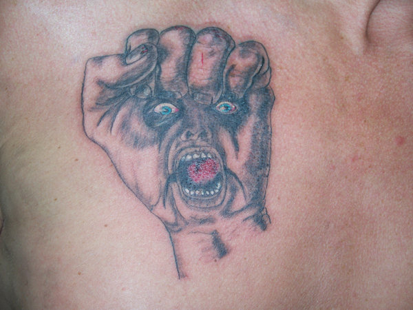 Tattoo, Colour, Band, Fist, Face, Realism, Artwork