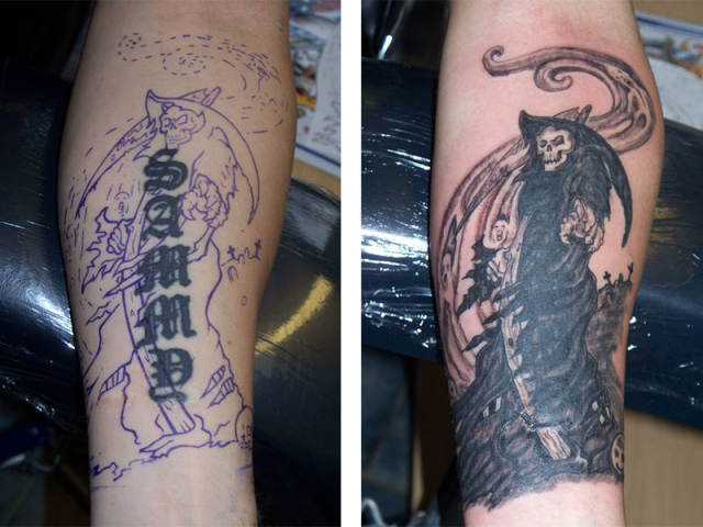 Cover Up, Before, After, Writing, Grim Reaper
