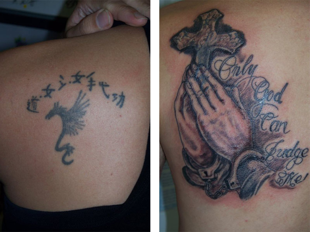 Cover Up, Before, After, Dragon, Praying Hands