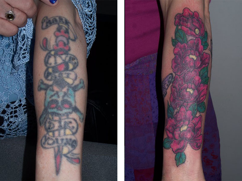 Cover Up, Before, After, Skull, Sword, Flowers