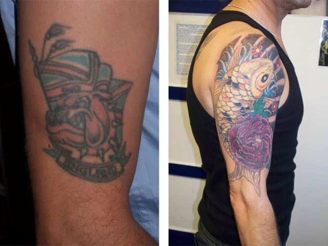 Cover Up, Before, After, Bulldog, Koi, Japanese