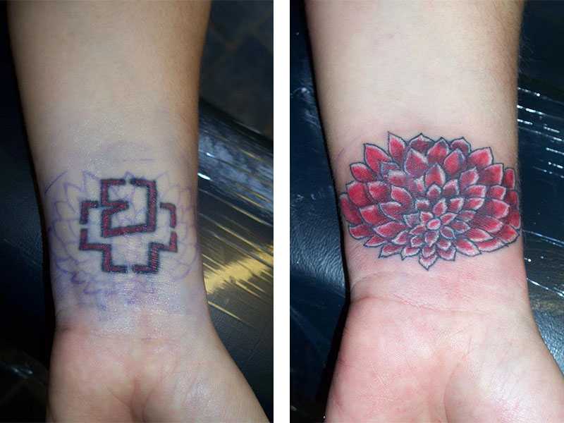 Cover Up, Before, After, Flower