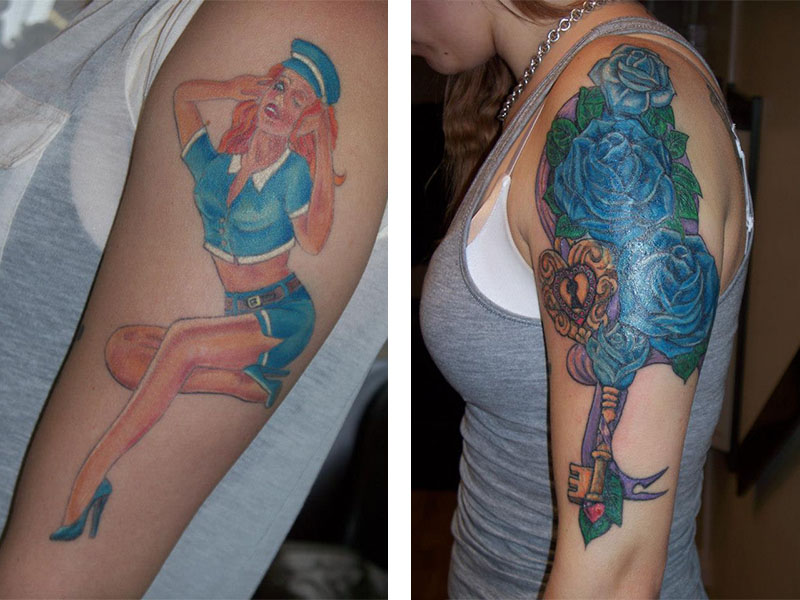 Cover Up, Before, After, Pin up, Roses