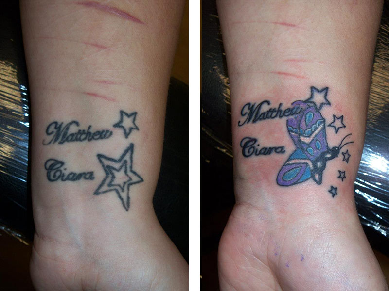 Cover Up, Before, After, Star, Butterfly