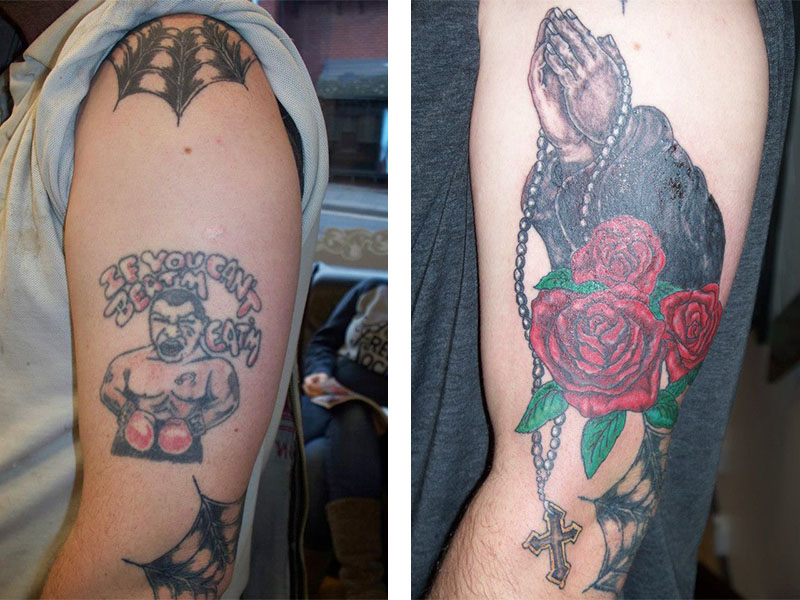 Cover Up, Before, After, Boxer, Roses, Praying Hands