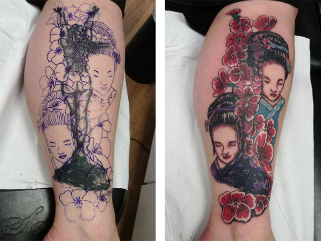 Cover Up, Before, After, Woman, Geisha