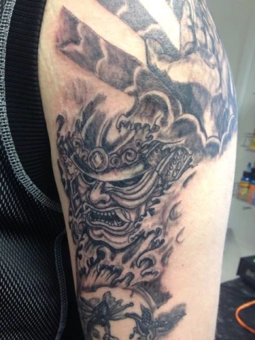 Tattoo, Black & Grey, Oni, Warrior, Japanese