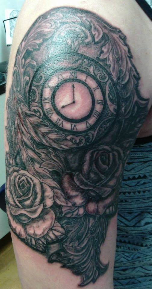 Tattoo, Black & Grey, Clock, Time Piece, Roses, Ornate, Fleur de lis
