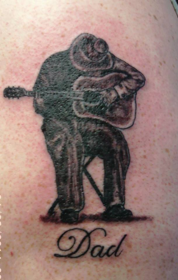 Tattoo, Black & Grey, Man, Guitar, Guitarist, Tribute