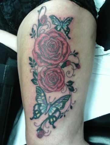 Tattoo, Butterfly, Rose, Floral, Feminine