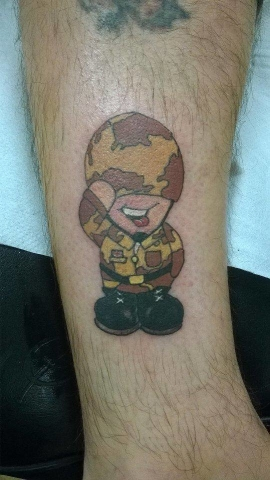 Tattoo, Colour, Scotty's Little Soldiers, Character, Cartoon, Army, Forces, Tribute, Charity