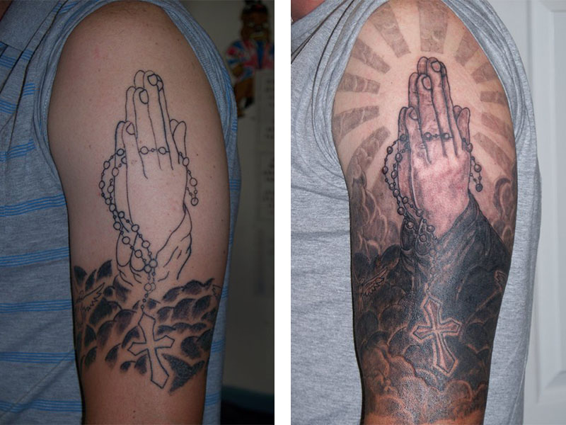Cover Up, Before, After, Religious, Praying Hands
