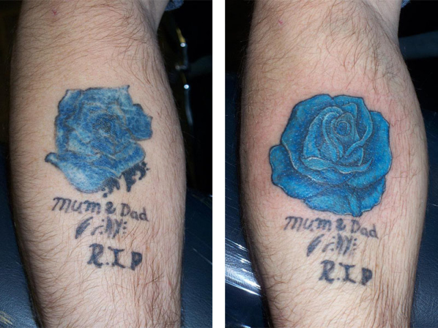 Cover Up, Before, After, Flower, Rose