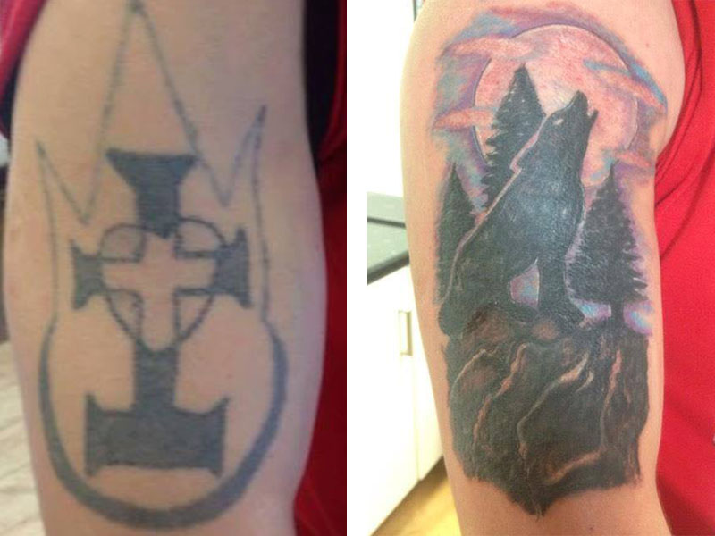 Cover Up, Before, After, Wolf, Silhouette