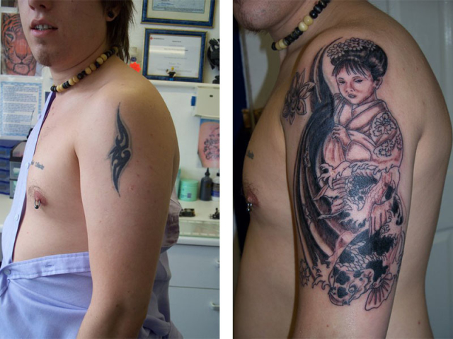 Cover Up, Before, After, Tribal, Geisha, Koi, Japanese