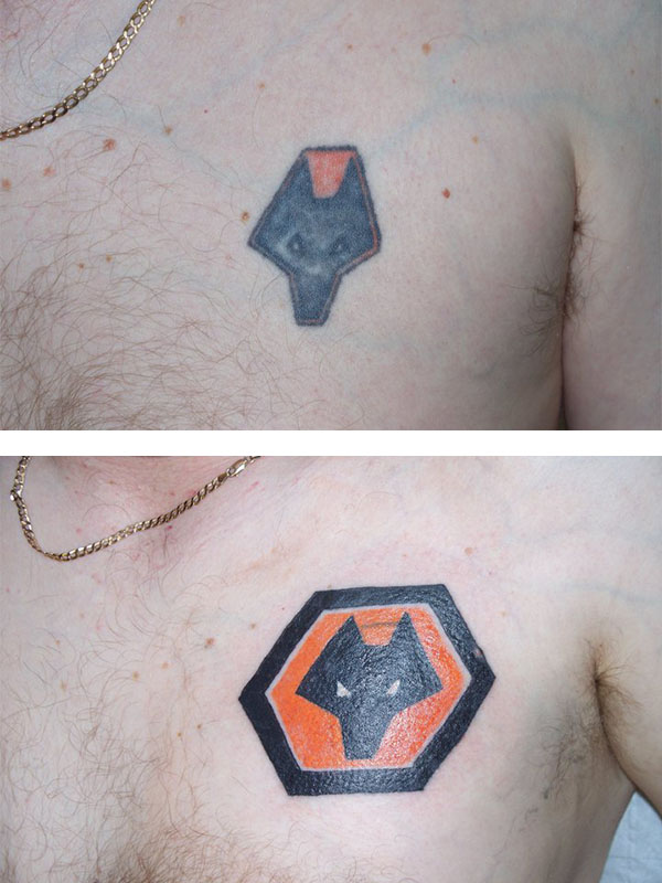 Cover Up, Before, After, Football Badge, Wolves